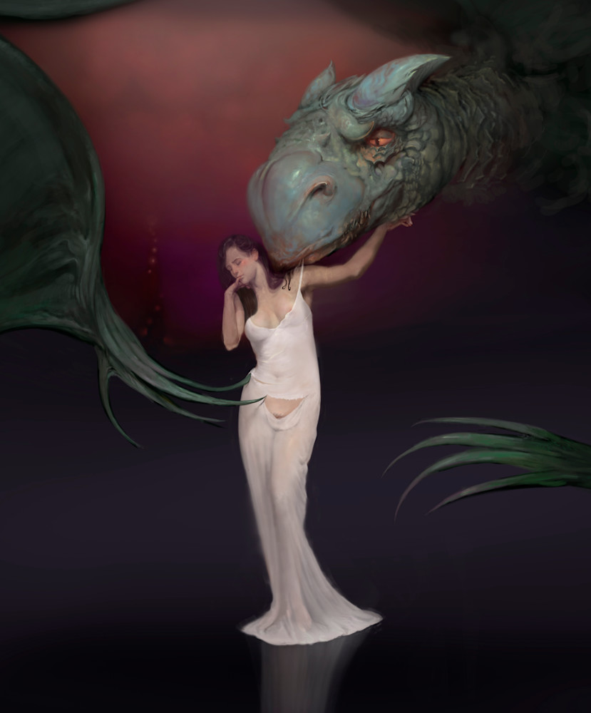 """BEAUTY BEAST,"" by Burton Gray, Dragon seduces maiden."
