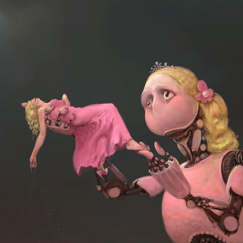 """Burton Gray's """"DEAD BARBIE,"""" pink robot broke her Barbie."""