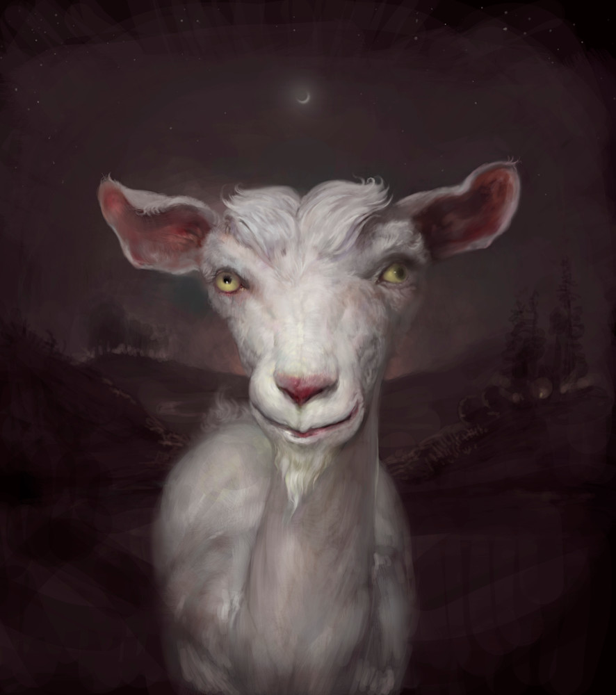 "Burton Gray's ""MEHRBY,"" painting of a quirky goat."