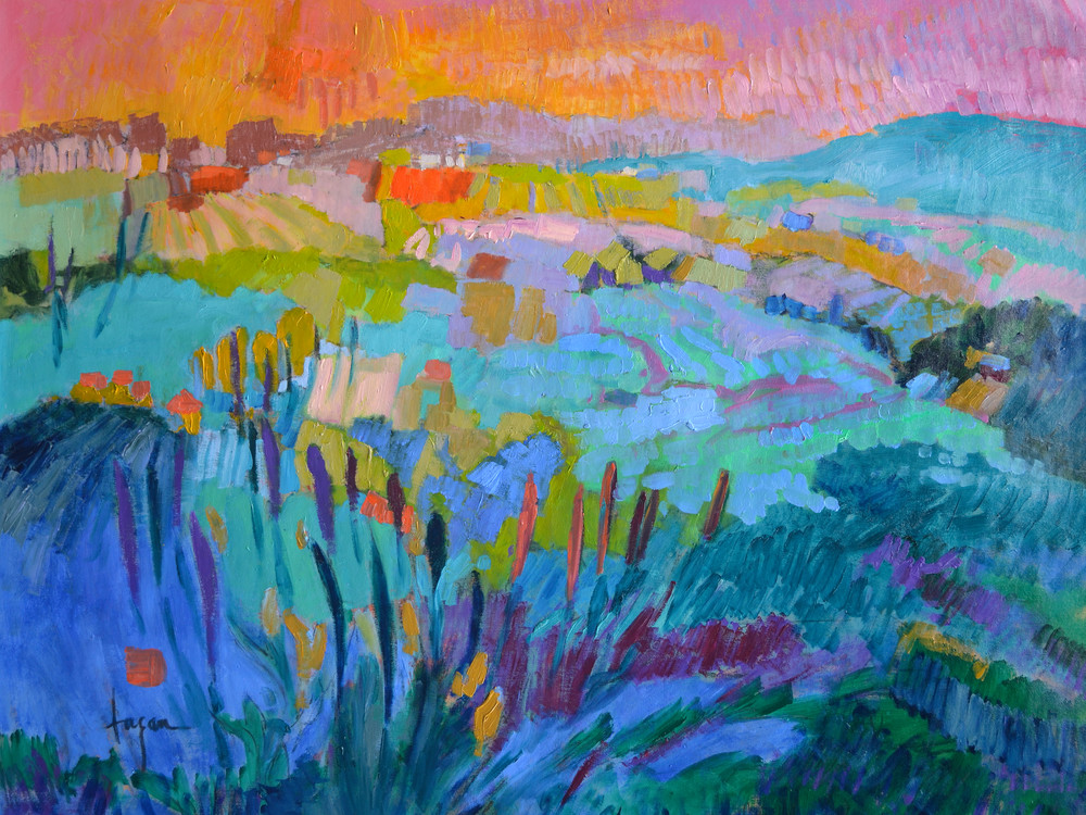 Colorful Abstract Mountain Landscape Art Print on Canvas, The Pond Within by Dorothy Fagan