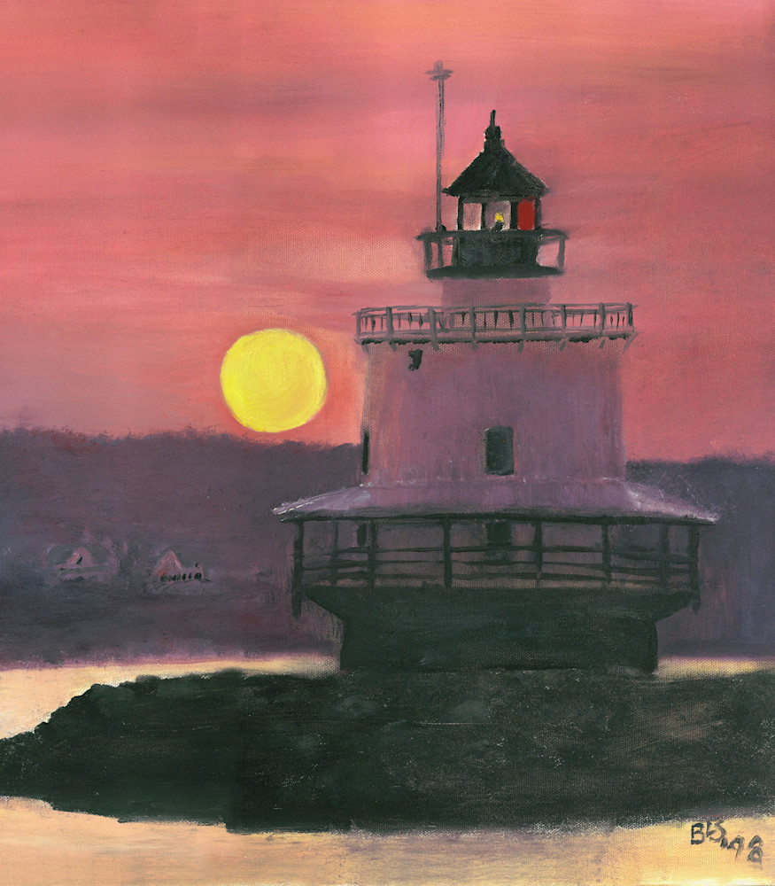 Lighthouse Peach Sunset Vertical Art | Blissful Bonita Art Studio & Gallery