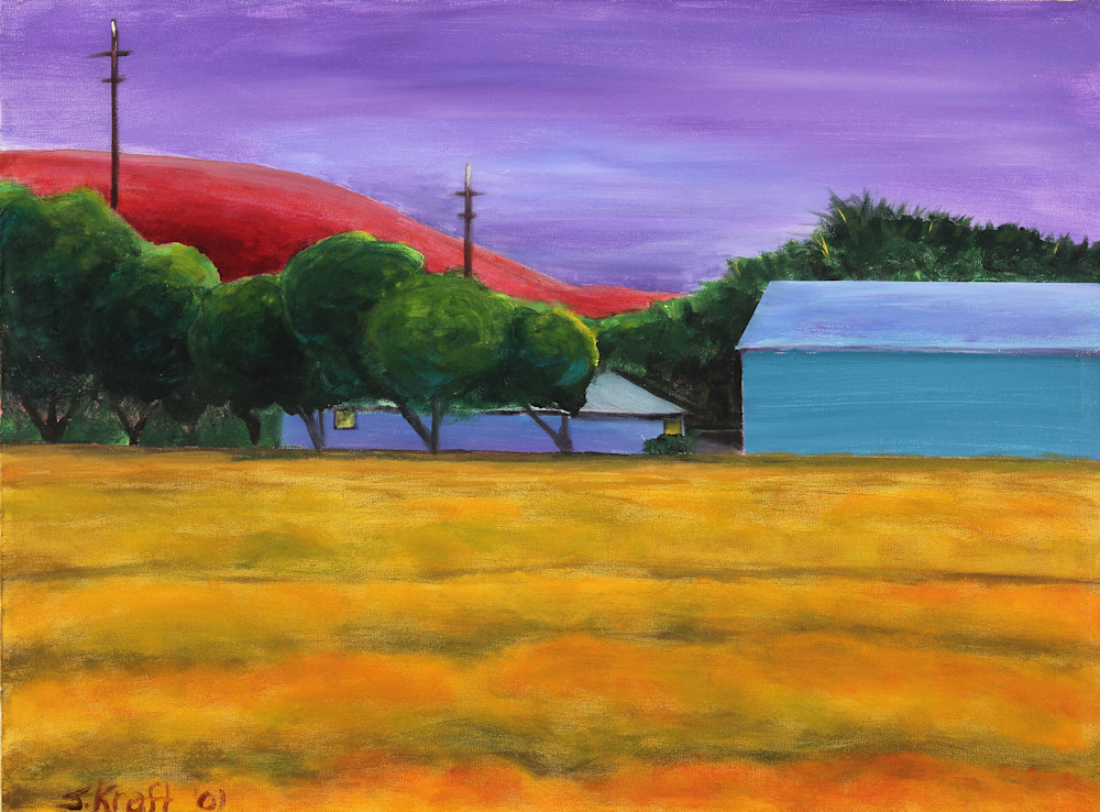 Rolling Hills is an acrylic painting of a golden field in front of blue farm buildings. Art by Susan Kraft