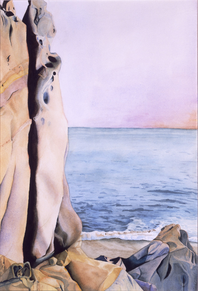 Watercolor painting of a Cabo Cliff by the sea. Art by Susan Kraft