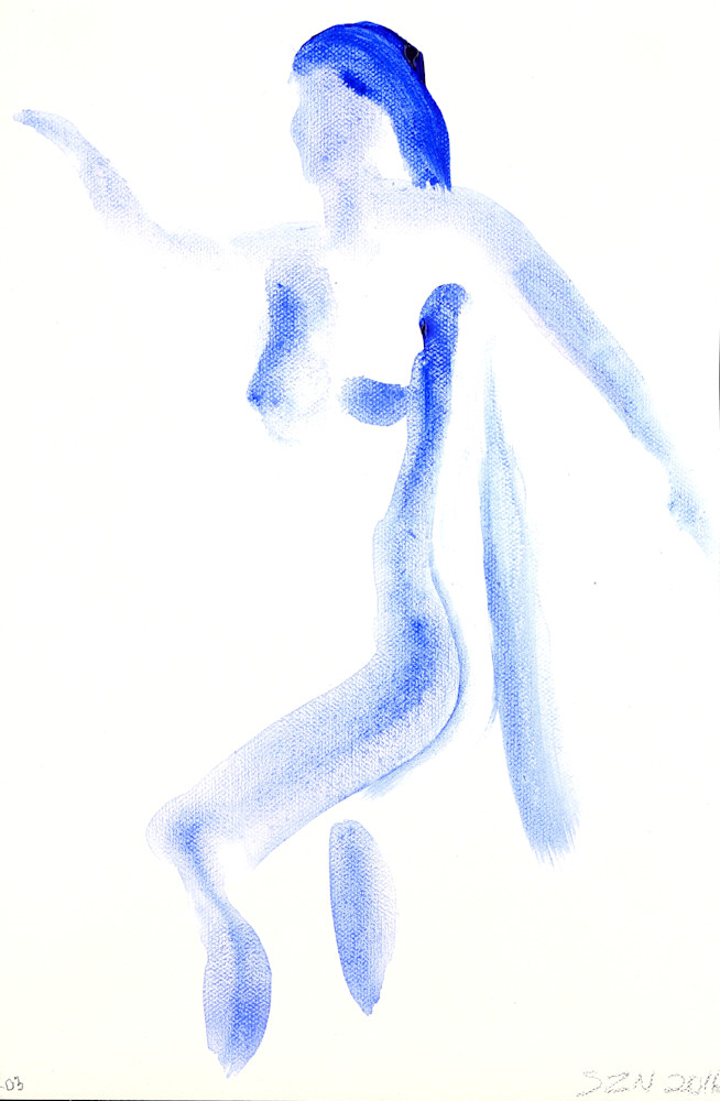 Part Deep Blue is an acrylic painting of a woman with long hair. Art by Susan Kraft