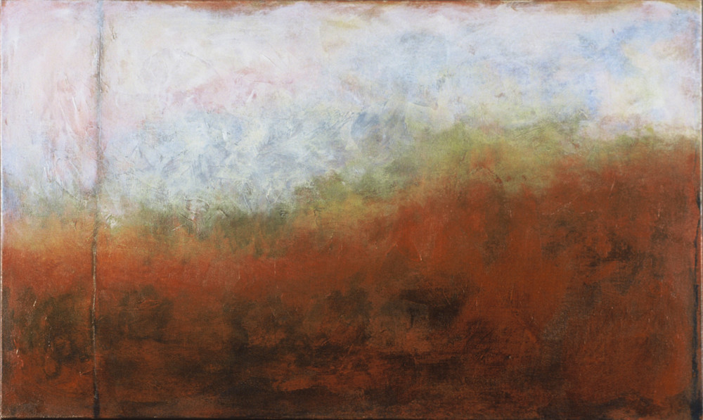Dreamscape 2 is an acrylic painting in peach, blue, and earth-tones. Art by Susan Kraft