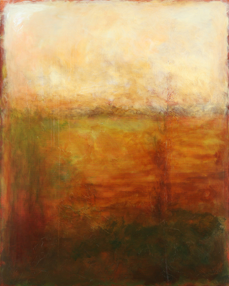 Beyond is an acrylic painting in muted colors. Art by Susan Kraft