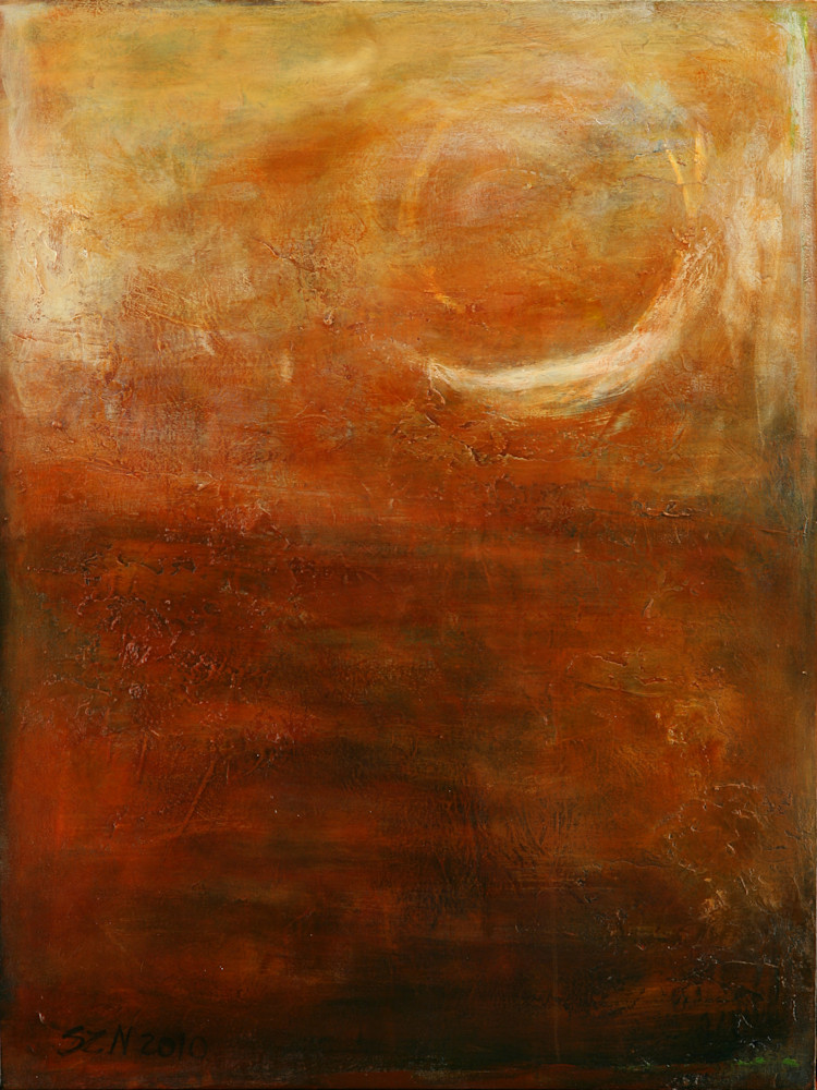 Acrylic painting of Crescent Moon painted in muted colors. Art by Susan Kraft
