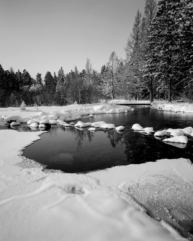 mississippi river, mississippi river headwaters, snow ice, blackand white