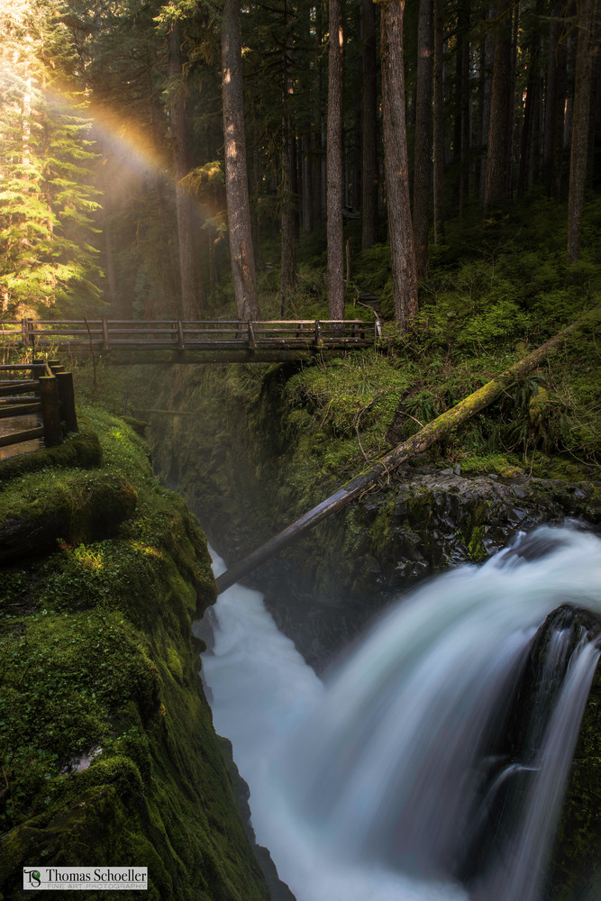 The enchanting and whimsical rainforest waterfalls of Olympic National Park/Sol Duc Falls fine art prints with colorful rainbow illuminating from the mist