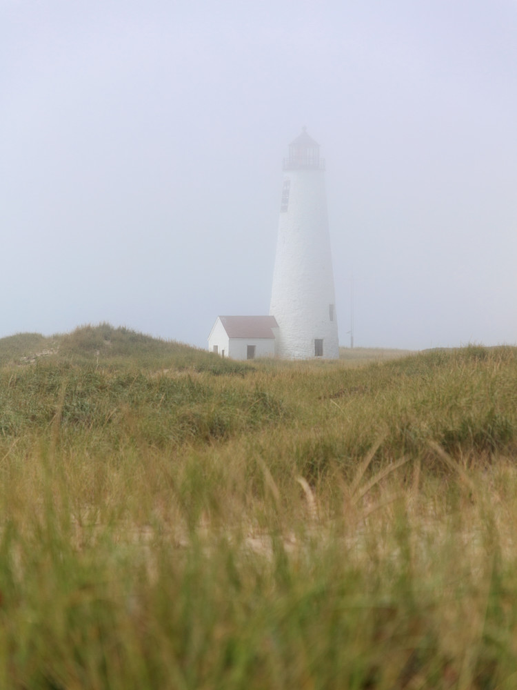 """Great Point Lighthouse in Fog - Vertical"" Nantucket Coastal Photography"