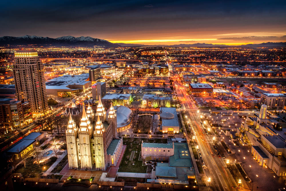 Salt Lake Temple Sunset Cityscape