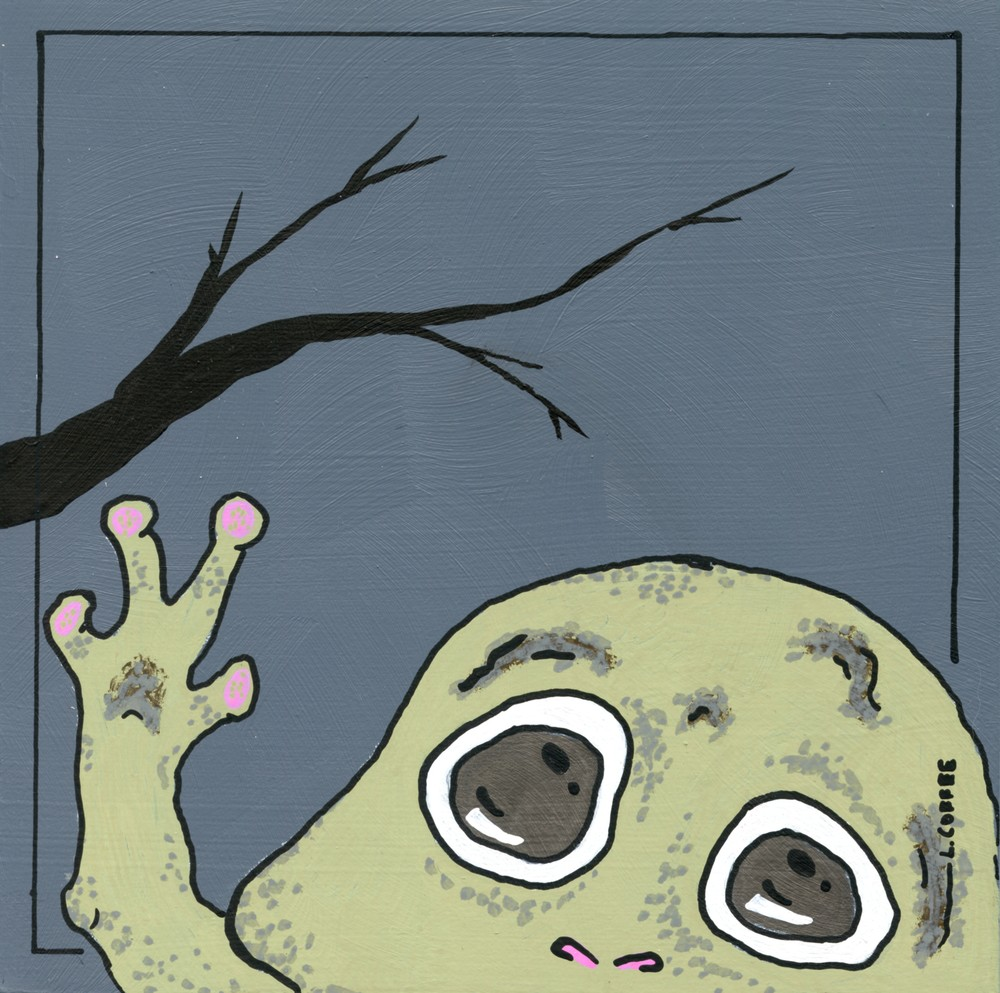 A small creature and a dark branch