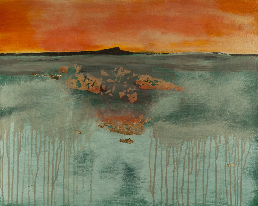 Smokeline is a contemporary abstract painting suggesting a smoky horizon and a fire-lit sky.