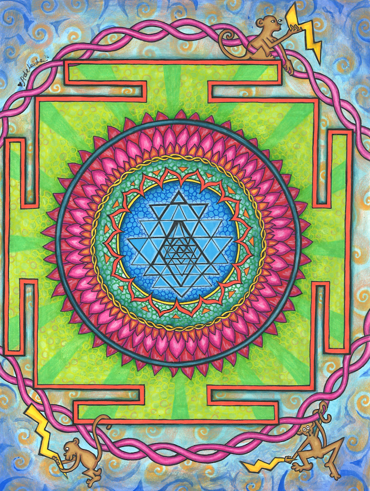 monkey mind, mandala, watercolor art, sri yantra