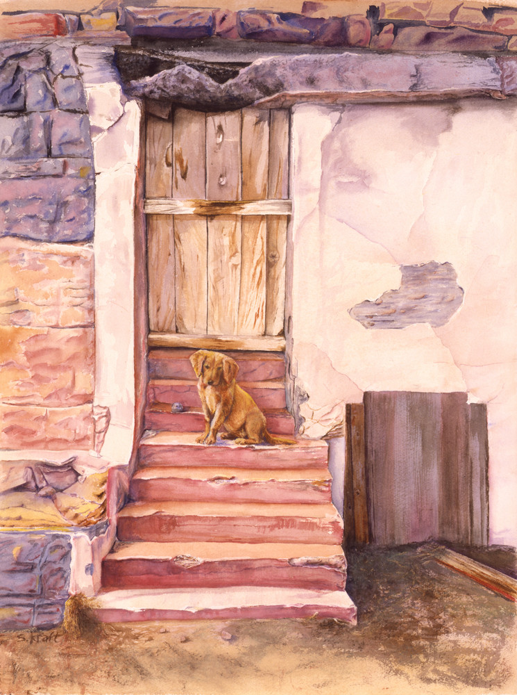 Watercolor painting of Puppy on Steps painted in muted colors. Art by Susan Kraft