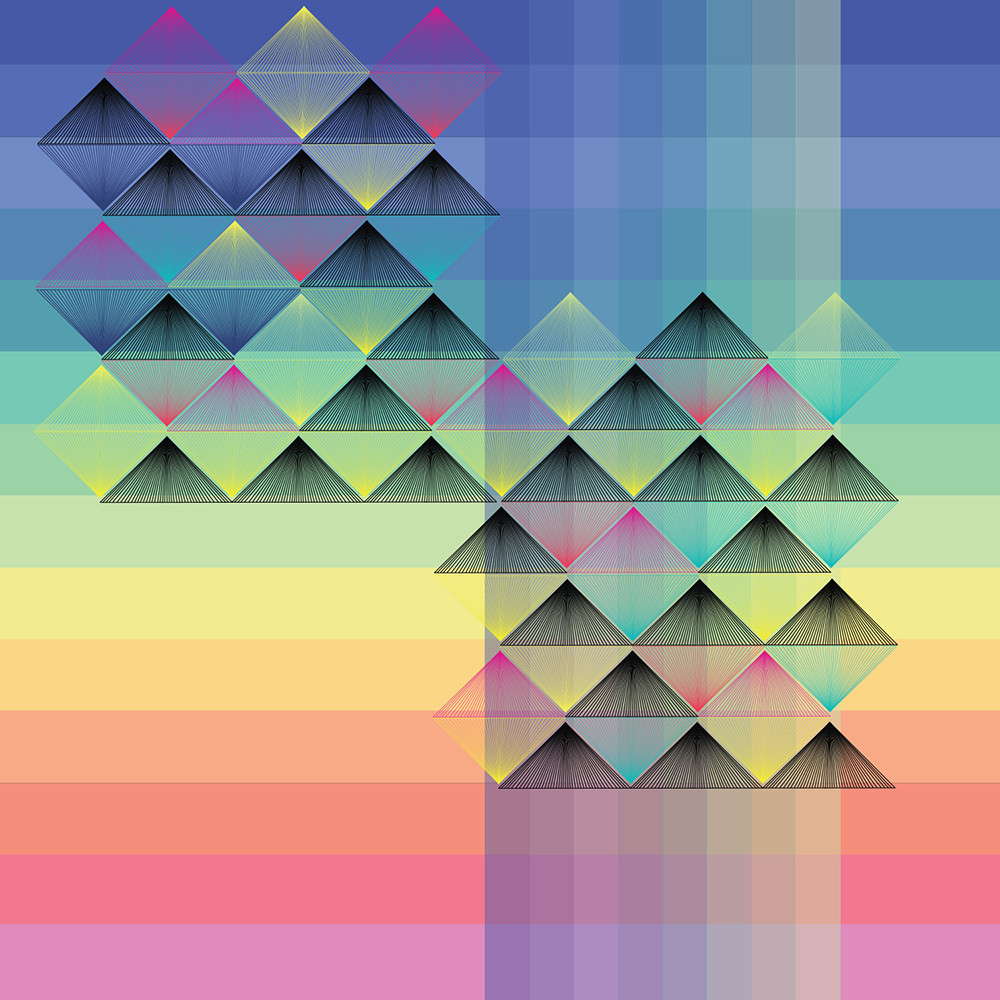 diamond, sunset, spectrum, wall art, graphic design