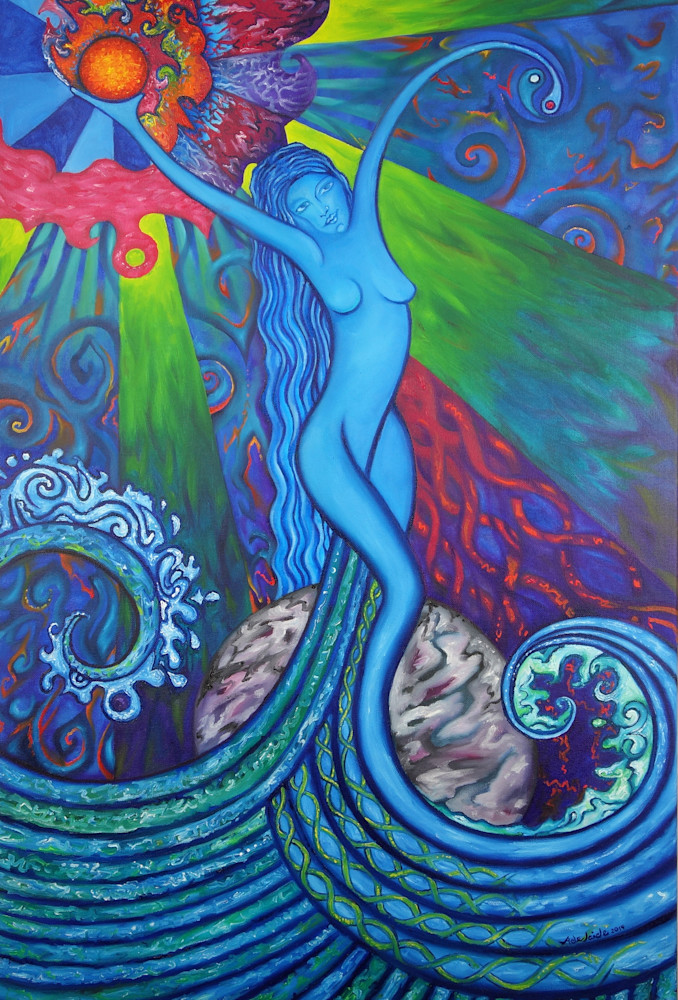 Water goddess mermaid painting