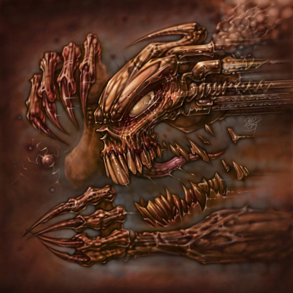9300d9b38b5 Brutal Mastication - Rampaging skull horror art by David Bollt