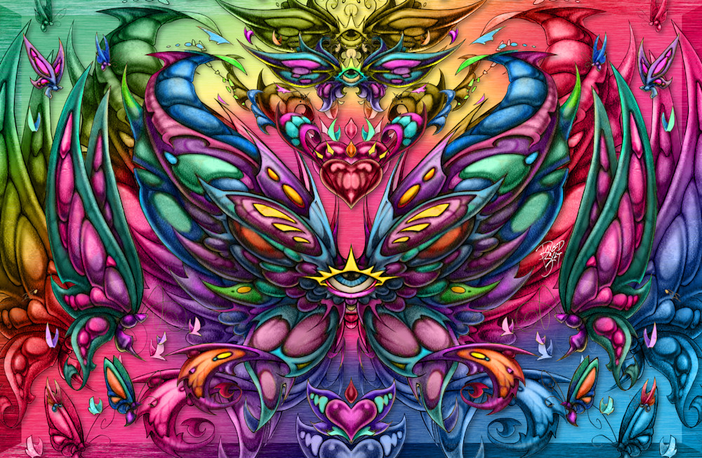 Butterfly Evolution - psychedelic butterfly art by David Bollt