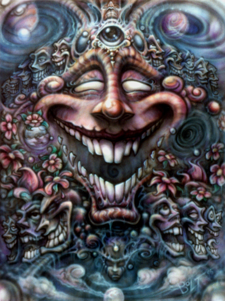 The God of Laughter - Laughing Krishna airbrush painting by David Bollt