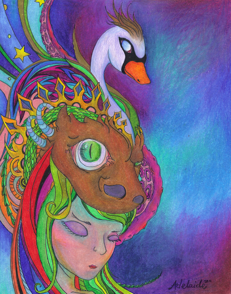 Spirit animal headdress colored-pencil art