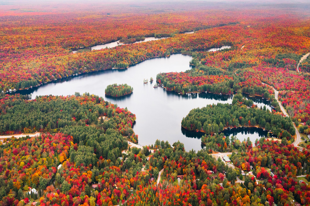 Photograph of White Lake fall Aerial by Kurt Gardner Adirondack Photographer