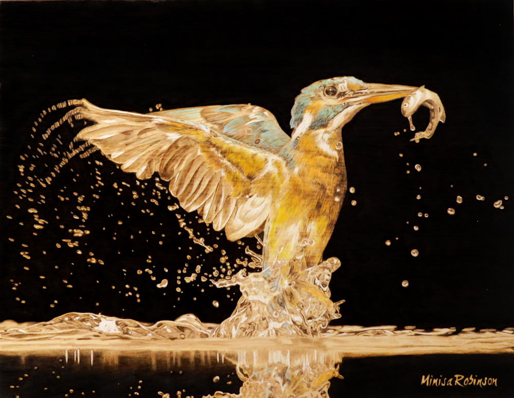 Kingfisher  Print Art | Minisa Pyrography