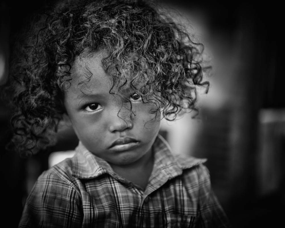 Solomon Islands Girl, b&w - Marovo Lagoon, Solomon Islands 2012