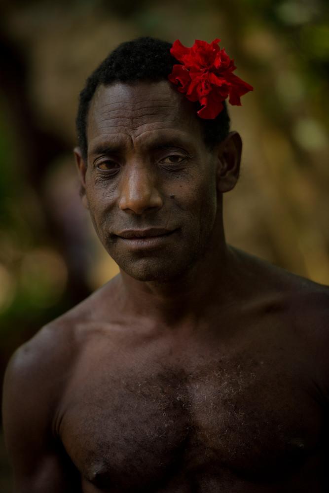 Rom Dancer with Red Hibiscus - Fanla Village, Ambrym Island, Vanuatu 2012