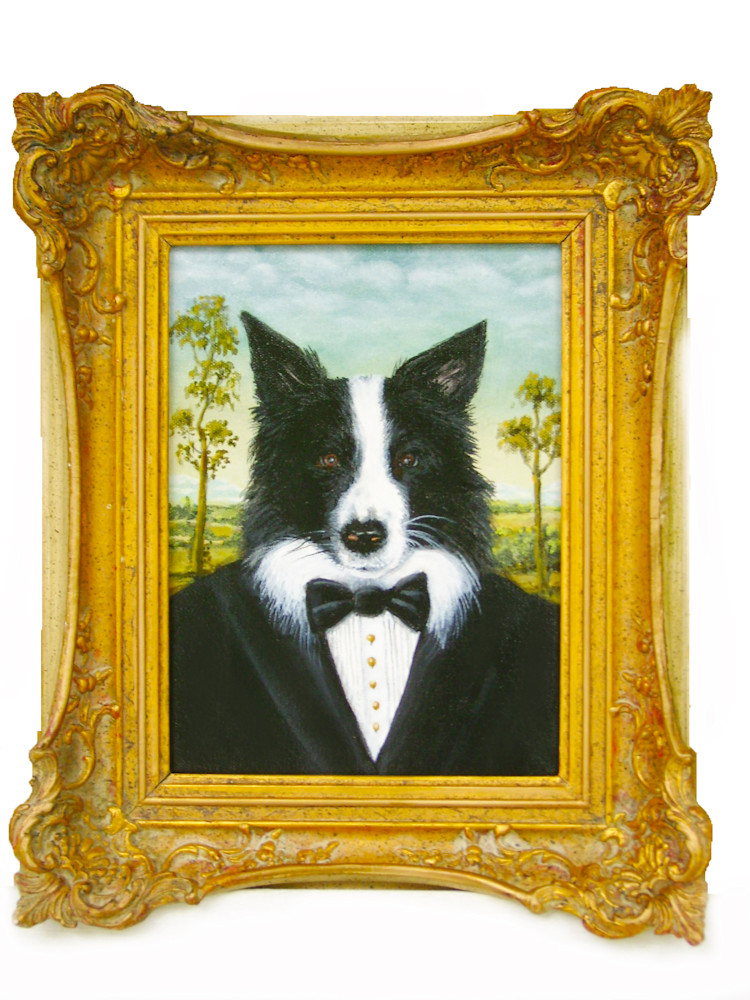 Dog portrait in a landscape and formal setting