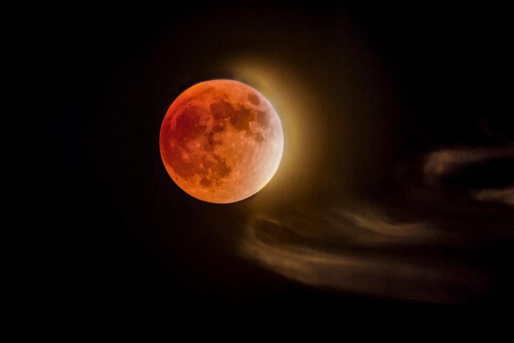 Blood Moon and Clouds - Tucson, Arizona 2015