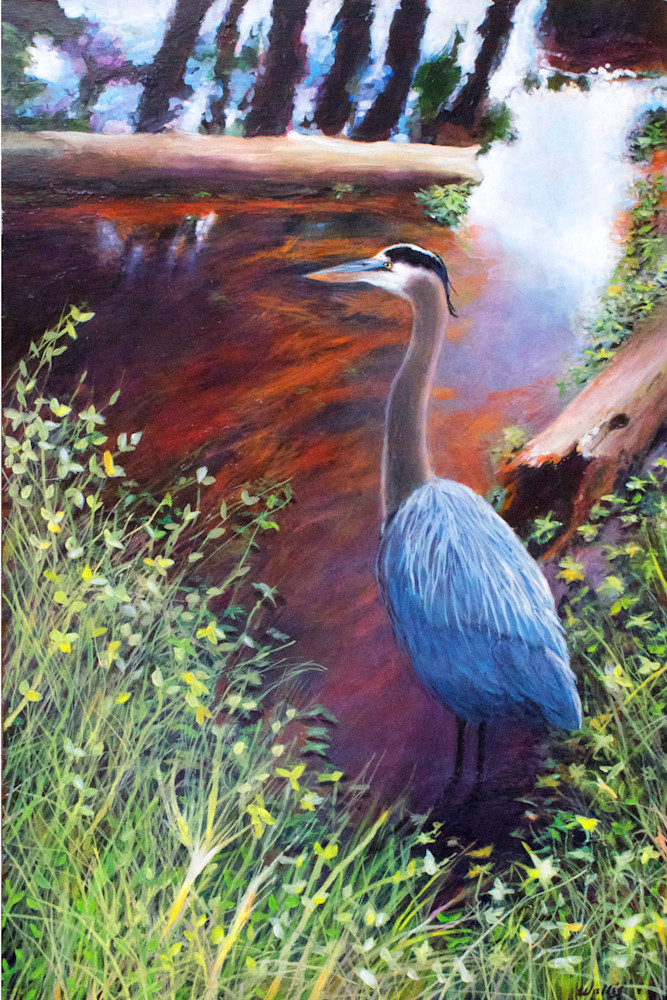 Great Blue Heron Pine Needle Slough Art   Charles Wallis