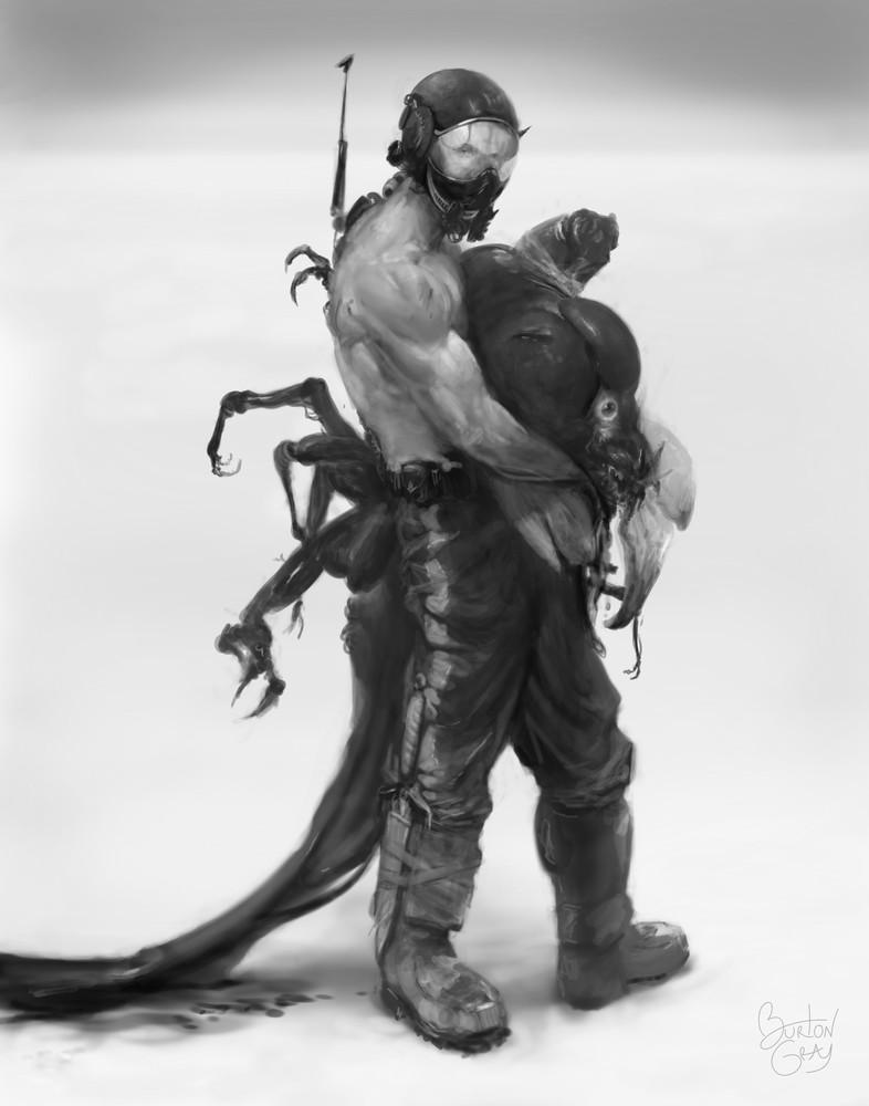 Painting of man carrying giant fish monster in desert