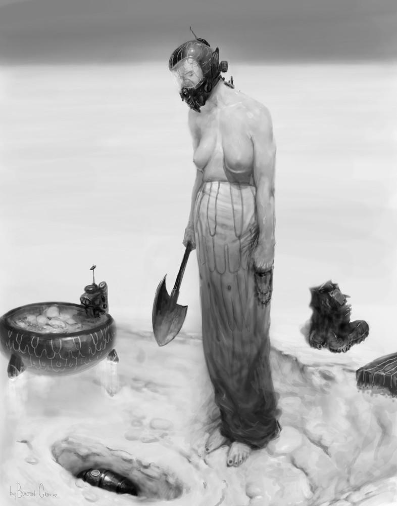 Burton Gray painting of a Semi-dystopian woman with shovel.