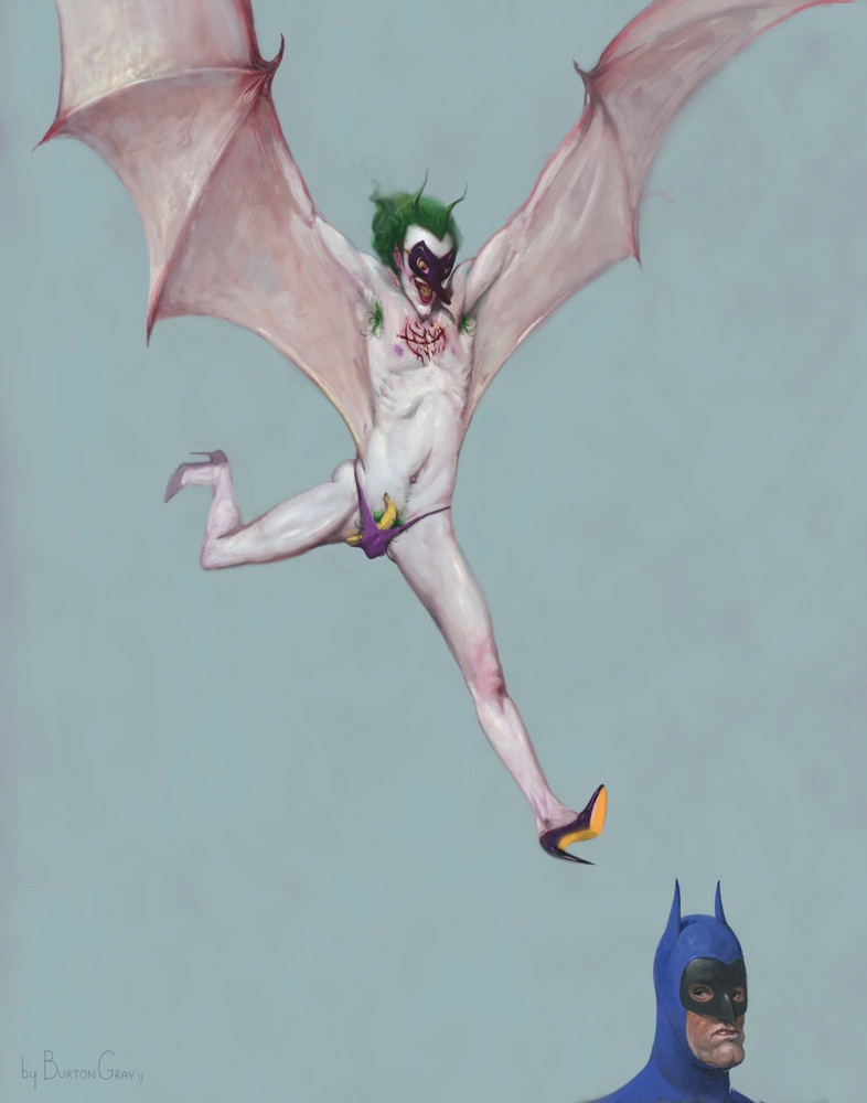 Burton Gray's painting of an angelic joker.