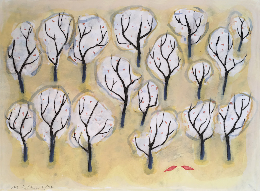 seventeen white trees two red birds