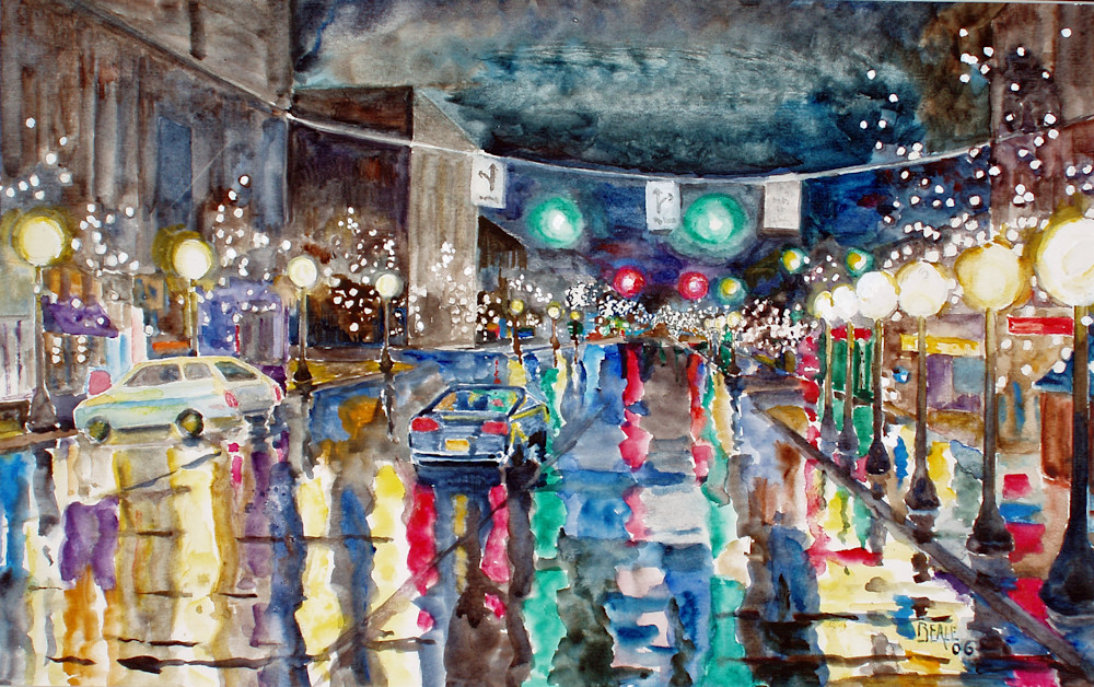 Midnight On Main St, Cortland Art | David Beale