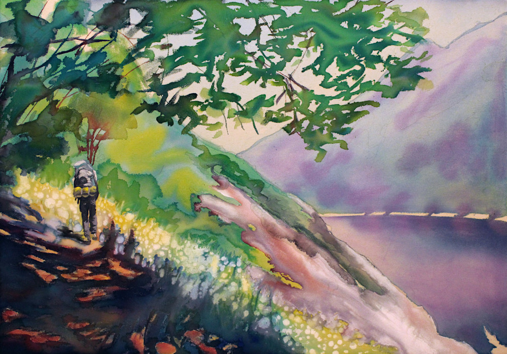 Hiker Landscape Painting by Michael Serafino Available on Wet Paint NYC