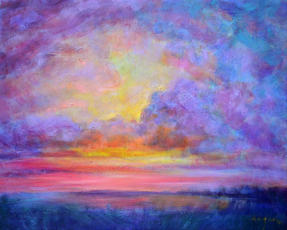 Stunning Sunset Painting Art Print on Canvas, Silver Lining by Dorothy Fagan