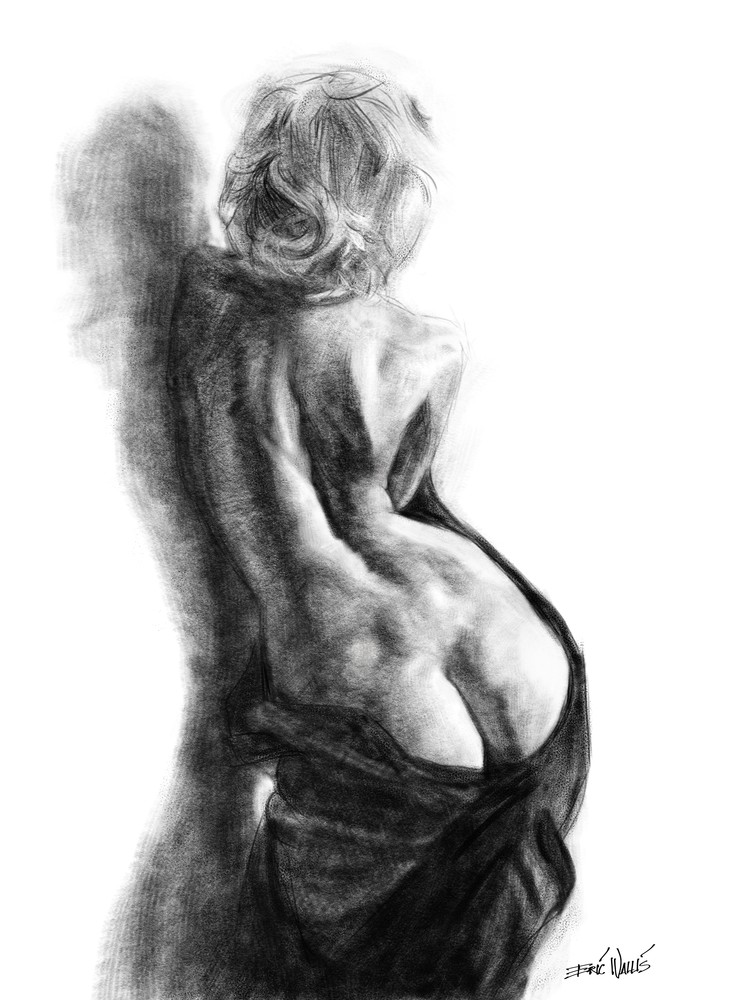 """Back in Black"" digital drawing by Eric Wallis"