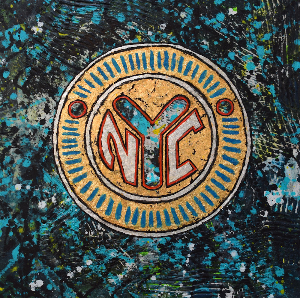 NYC Token Encaustic Wax Painting by Paul Zepeda Available on Wet Paint NYC - Prints on Canvas, Paper, Metal and Acrylic