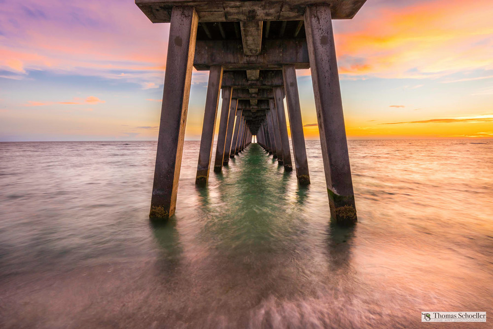 Colorful art print of the Pier at Venice Beach Florida at Sunset/by Thomas Schoeller fine art photography