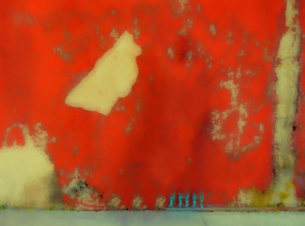 Red Wall with Boot abstract art paintings for sale | Grimalkin Studio