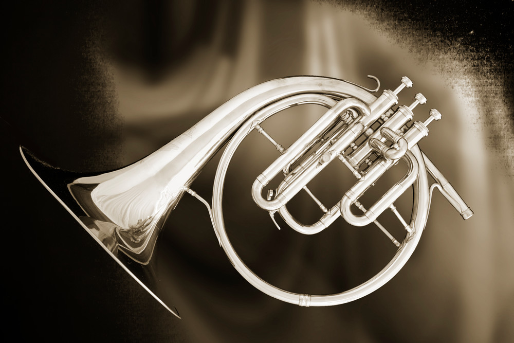 French Horn Antique Sepia Wall Art Print 3210.01