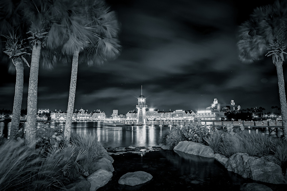 Disney Lighthouse B&W - Disney Fine Art | William Drew Photography