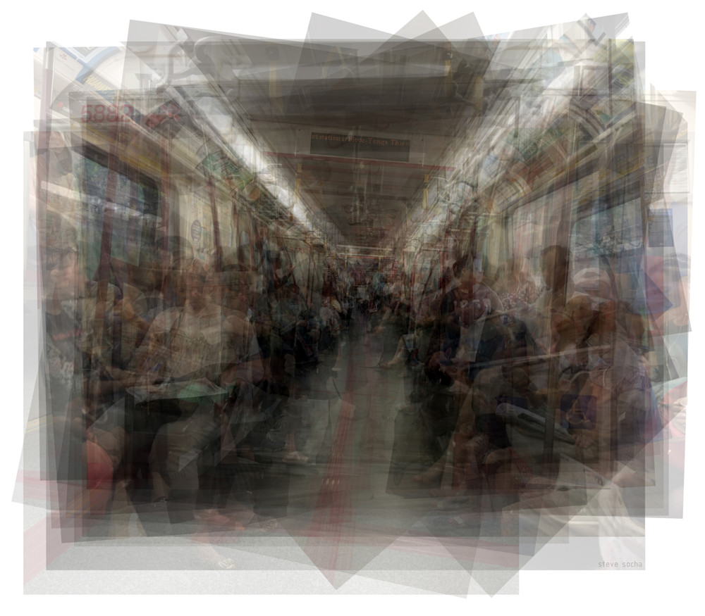 Overlay art – contemporary fine art prints of the Toronto TTC Subway interior.