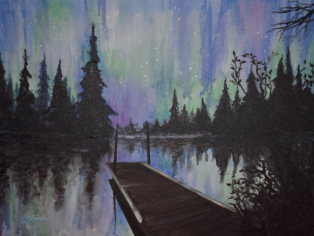 Painting of the northern lights available in print