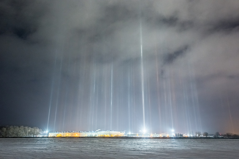 Light Pillars Over Spartan Motors