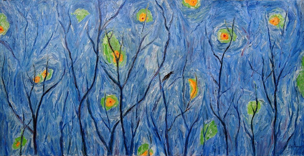 Crows in a Forest Under a Microwave Sky