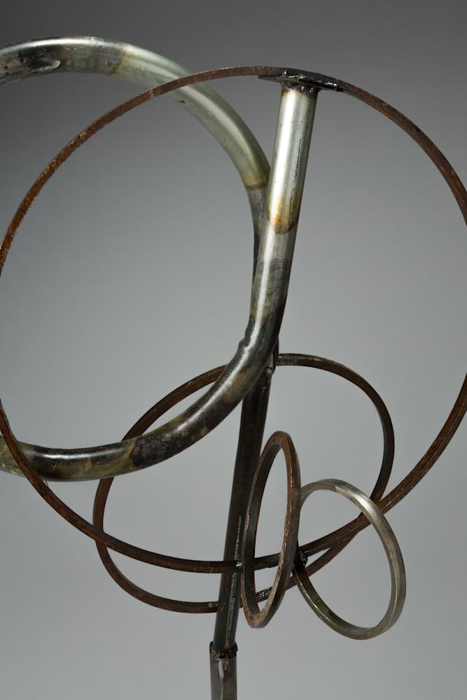 Salvaged metal welded loop sculpture
